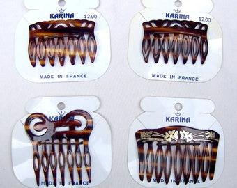 4 celluloid hair combs vintage Karina faux tortoiseshell hair accessory hair ornament decorative comb hair jewelry (ABM)