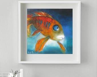 Pisces Zodiac gift idea Art Print whimsical Japanese koi Carp Spruce up toddlers room with Goldfish,  turquoise orange children's room art