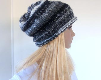 Black knit hat Black and White Slouchy Beanie Chunky knit Womens Black Beanie