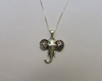 Lucky Elephant Necklace, Sterling Silver Elephant Head Pendant, Unisex Trendy Elephant Charm Necklace, Meditation Jewelry