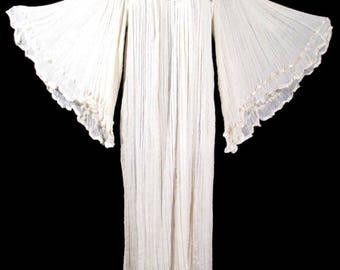 Vintage GAUZE ANGELWING DRESS Crochet Long 1970's 70's Caftan Hippie Wedding
