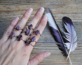 Raw amethyst ring, raw gemstone ring, amethyst crystal ring, electroformed ring, purple amethyst and copper ring boho jewelry statement ring