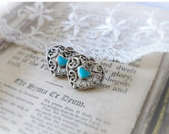 MOVING SALE Turquoise & Scroll Hearts,Mexico Sterling Silver Scroll,Inlaid Turquoise Gemstone Heart,Valentines Day Post Earrings , Hollywood