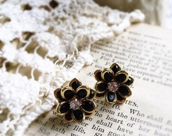 MOVING SALE On Sale Night Bloom, Golden Framed Black Flowers with Clear Rhinestones Post Earrings by Hollywood Hillbilly