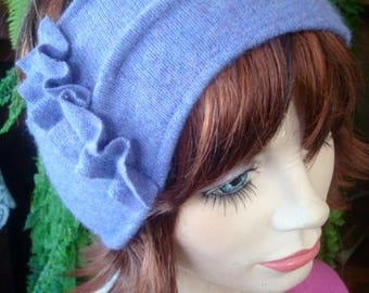 headband adult headband warm headband earwarmer cashmere lilac with ruffle