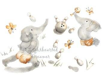 Bowling Nursery, Sports Nursery,  Elephant Nursery Art, Baby Boy Gift, Custom, Gift for New Dad, Boys Nursery Art, Custom Baby Gift