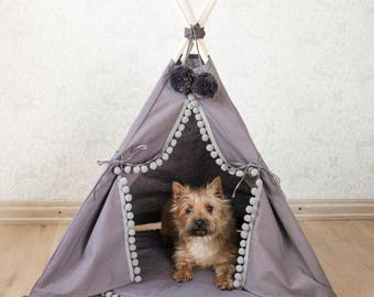 Pet bed, dog bed, cat bed, dog teepee, cat tipi with base, pad, pet tipi with 4 poles, pet teepee, tepee, wigwam, grey color, 100% cotton