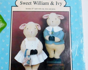Lamb Pattern Kit Sewing Stuffed Animal Toy Sweet William and Ivy Boy and Girl, Vintage Pattern for Lambs and Clothes Unused