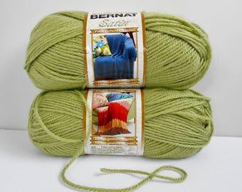 GREEN Yarn Bernat Satin Acrylic Crochet Knitting Baby Yarn 2 Balls 3.5 Ounces Each FERN