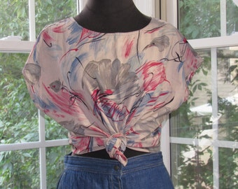 Abstract Paint Print Blouse 70s/80s Vintage Short Sleeve Top, Tee