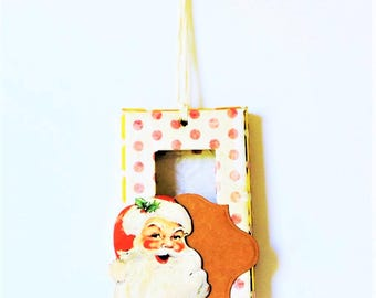 Ornament - Classic Santa - Vintage - Polka Dot - Gold Foil - Ornament Embossed Inlay Switch Plate Cover Christmas Tree Decoration