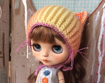 Blythe crochet cat hat