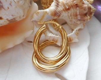 "18k Yellow Gold Oval Hoop Earrings 1"" Diameter  2.20g"