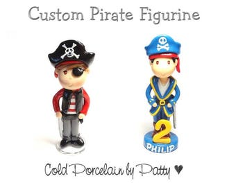 Custom Pirate Cake Topper, Personalized Cold Porcelain Clay Pirate Boy Figurine, Pirate Birthday Cake Topper, Pirate Party Keepsake, Gift