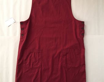 berry red pinafore dress | two pocket pinafore | adjustable side button pinafore