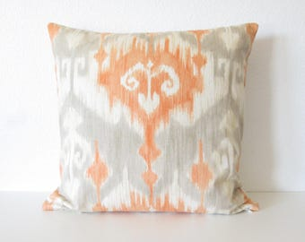 24x24 Richloom Marlena Orange ikat light gray throw pillow cover