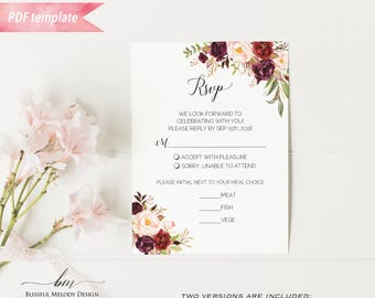 Printable Burgundy Floral rsvp Card, Editable PDF Template, Rustic Boho Wedding Response Card, vistaprint, DIY Instant Download #01