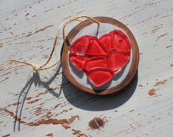 Red Heart Sea Glass Love Ornament Wall Hanging