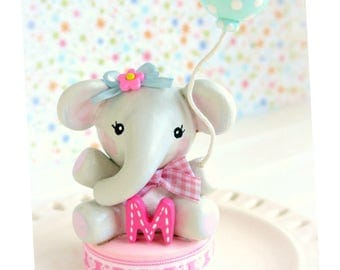 Baby Shower Cake Topper Elephant, Baby Shower Cake Topper Girl, Baby Shower Decorations Girl,Baby Birthday Elephant Cake Topper,1st Birthday