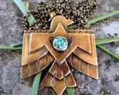 Southwestern Thunderbird necklace   brass bird necklace   Thunderbird necklace   Boho necklace   Turquoise necklace