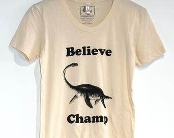 Women's Believe Champ T-shirt, American Apparel Natural Cream Ladies Tee