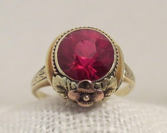 14K Yellow & Rose Gold Ring SZ 7.5 Circa 1919