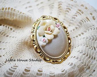 Porcelain Rose Brooch, Porcelain Rose Pin, Vintage Rose, Vintage Pink Brooch, Porcelain Brooch, Porcelain Pin, Rose Pin, Rose Brooch