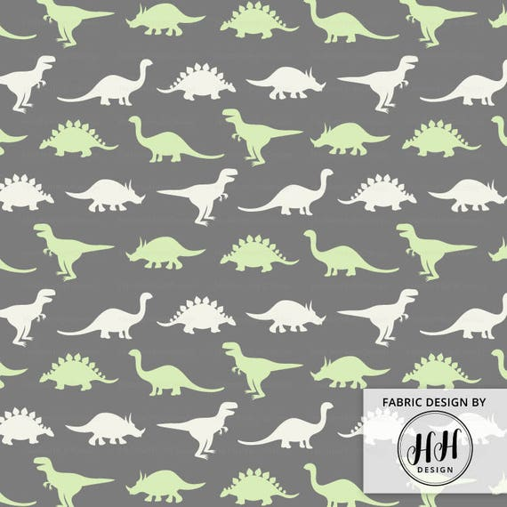 Dinosaur silhouette fabric by the yard gray green dino for Grey dinosaur fabric