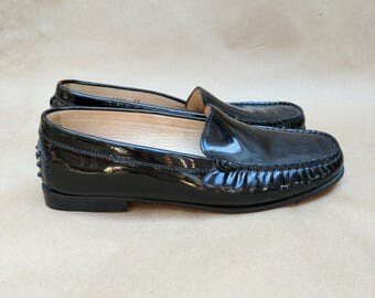 Vintage Black Patent Leather Mens Driving Shoes Slip on Loafers Formal Shoes Mens 9 1/2