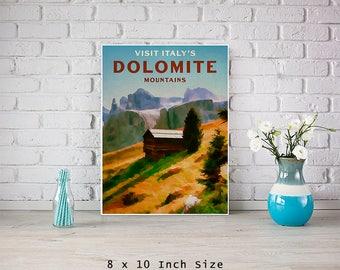 Italian 8x10 Art Print Poster Dolomite Mountains Alpine Mountains Rustic Art Landscape Wall Art Nature Prints