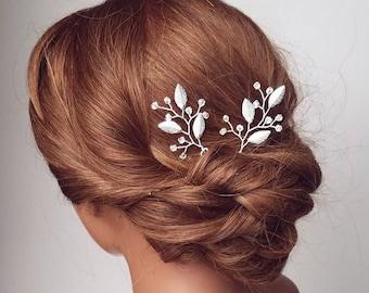 Silver Hair Pins, Bridal Hair Piece, Leaf Hair Vine, Silver Hair Comb, Wedding Hair Accessories, Vine Hair Pins, Leaf Headpiece, Hairpieces