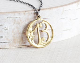 Brass Moon Necklace, Raw Brass Circle Pendant on Gunmetal Chain, Lucky 13 Necklace, Celestial Jewelry
