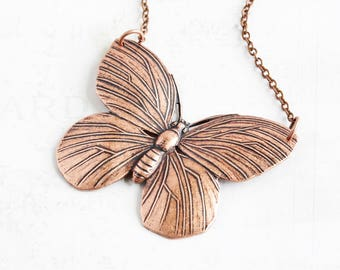 Large Antiqued Copper Plated Butterfly Pendant Necklace