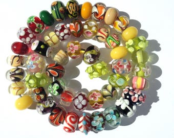 Glass beads - mixed set of 50 lampwork beads