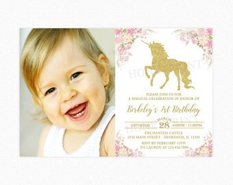 Gold Unicorn Birthday Party Invitation, Glitter Unicorn, Pink, Flowers, Girl, Photo, Personalized, Printable or Printed