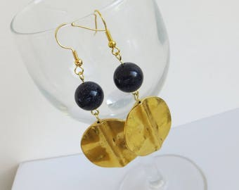 Navy Blue and Gold Earrings, Navy Blue and Gold Jewelry, Navy Blue Earrings, Navy Blue Gold Earrings, Navy Blue Drop Earrings Gold Pendant