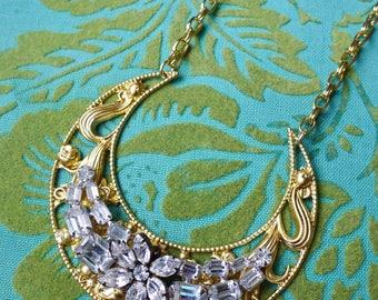 Crescent of Flowers // Long Statement Necklace in Gold w/ 1950s Vintage Flower Rhinestone Gems Bohemian Boho Celestial Art Nouveau Art Deco