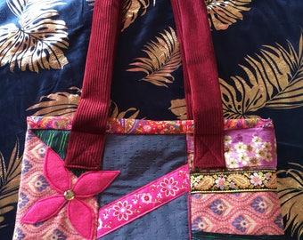 Bohemian patchwork bag, OOAK, over the shoulder bag, hippy velvet carry all