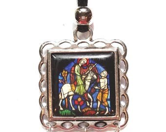 Stain glass pendant etsy medieval stained glass pendant aloadofball Gallery