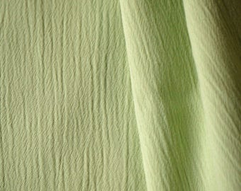 1 YARD, Crinkle Crepe, Light Green, Fashion or Craft Fabric, Lightweight Polyester Cotton, B4