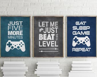 Set of 3 Video Gamer Graphic Prints 8x10 or 11x14 Matted Options