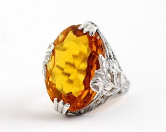 Sale - Vintage Art Deco Sterling Silver Simulated Citrine Ring - Antique 1920s Size 4 3/4 Flower Filigree Oval Orange Yellow Glass Jewelry