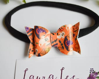 READY TO SHIP, Halloween Print Faux Leather Bow Nylon Headband or Alligator Clip, Classic Bow, Toddler, Halloween Bow, Orange Bow, Infant