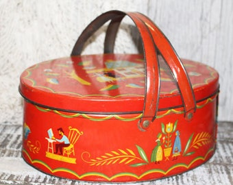 Vintage Red Sewing Handled Tin Pennsylvania Dutch, Storage, Kitchen Home Graphics/Pictures Colors House Courting Couple Retro Amish Folk