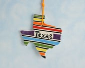 Texas State Ornament, Two Sided, Handmade Ornament, Texas Star Ornament, State Shaped Ornament