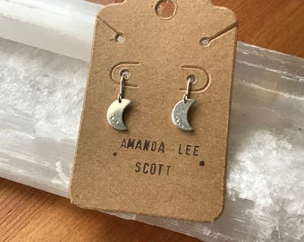 Crecent Moon Sterling silver dangle earrings