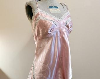 Victoria's secret teddy bodysuit pink white satin lace flapper lingerie 1920s style M