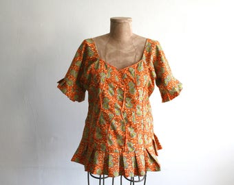 SALE African Wax Cotton Ruffle Top lg