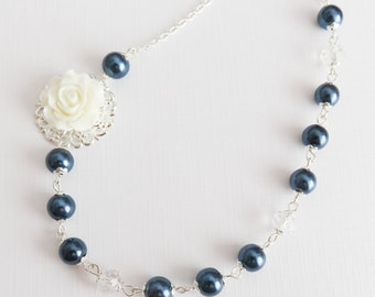 Navy blue pearl necklace, bridesmaid necklace, white flower necklace, bridesmaid gift, bridal party gift