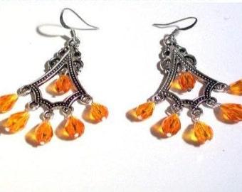 Red orange chandelier crystal drops | Etsy UK